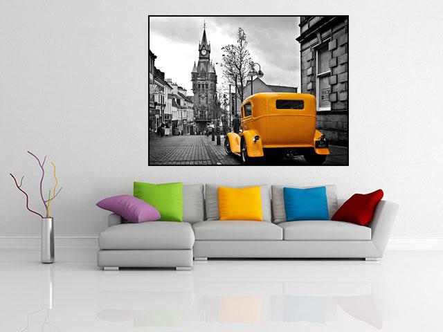 Poster inramat masina galbena - cod AAA02