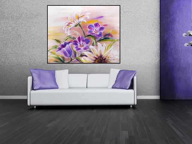 Tablou floare efect pictat - cod L11