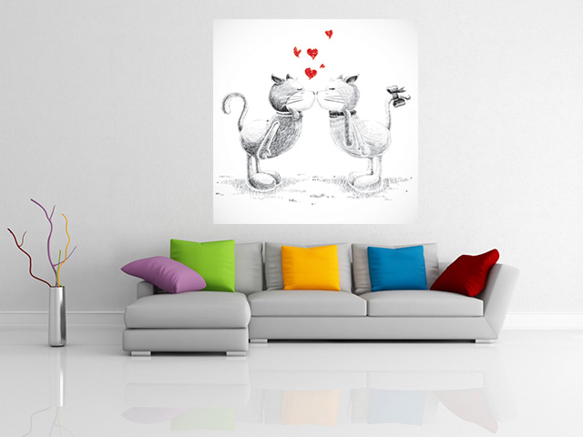 Tablou grand canvas cats in love - cod Z09
