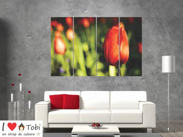 Tablou multicanvas design floral - 4 piese - cod E32