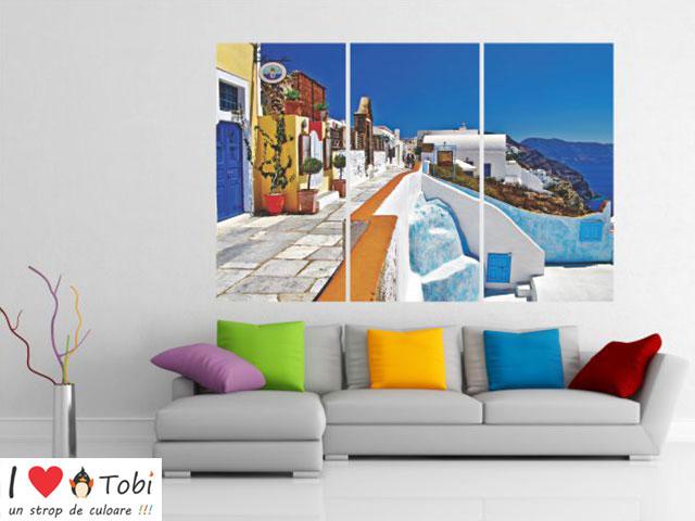 Tablou multicanvas Santorini - 3 piese  -  cod E28
